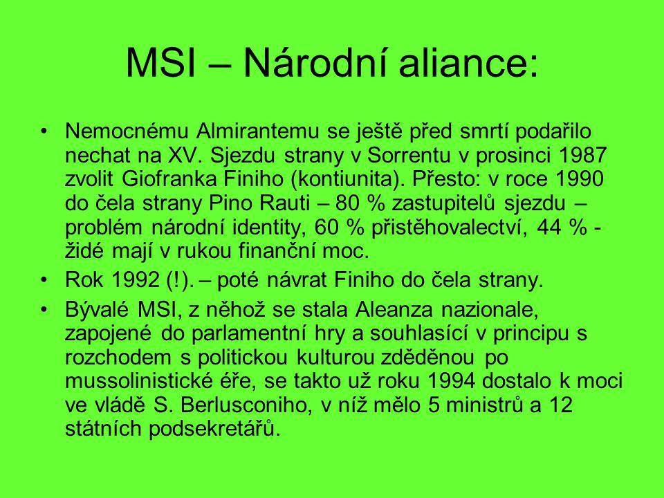 MSI – Národní aliance: Nemocnému Almirantemu se ještě před smrtí podařilo nechat na XV. Sjezdu strany v Sorrentu v prosinci 1987 zvolit Giofranka Fini