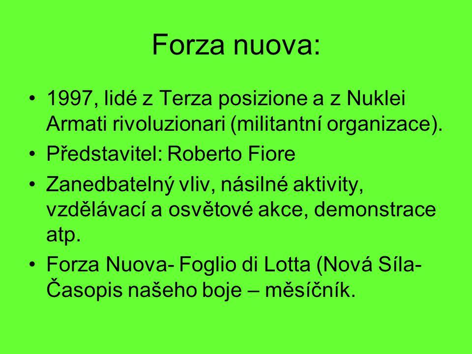 Forza nuova: 1997, lidé z Terza posizione a z Nuklei Armati rivoluzionari (militantní organizace). Představitel: Roberto Fiore Zanedbatelný vliv, nási