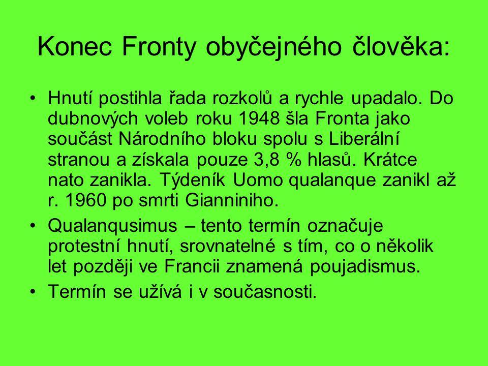Konec Fronty obyčejného člověka: Hnutí postihla řada rozkolů a rychle upadalo. Do dubnových voleb roku 1948 šla Fronta jako součást Národního bloku sp