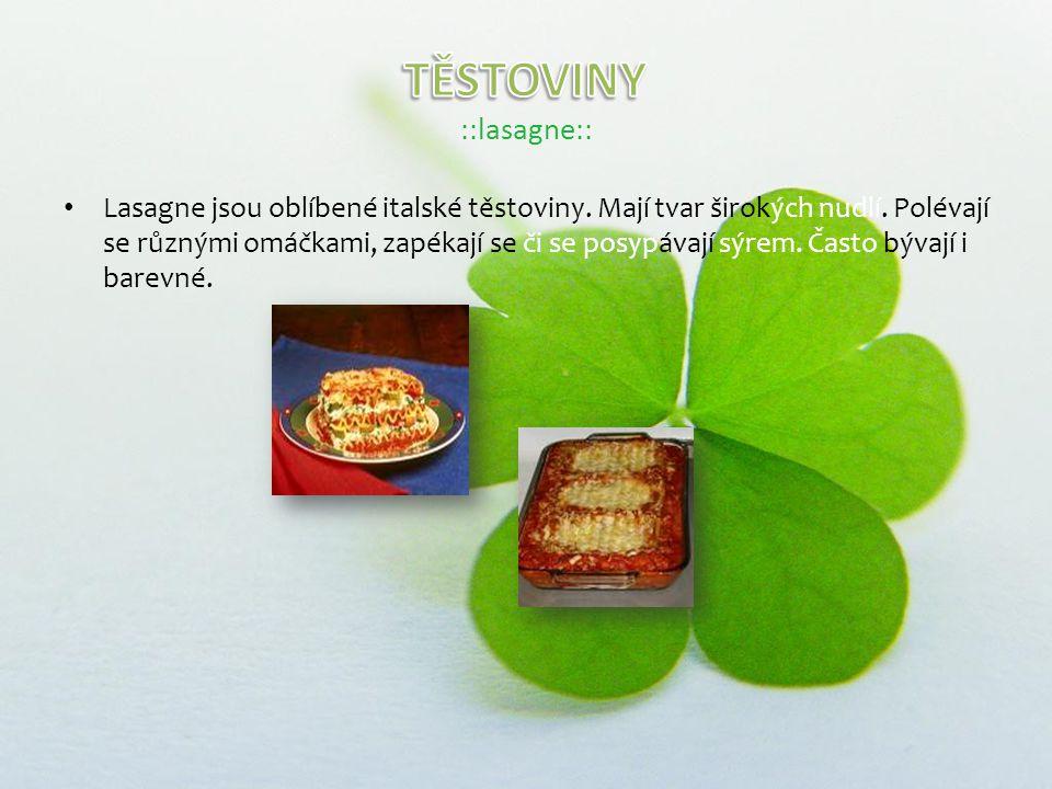 Lasagne jsou oblíbené italské těstoviny. Mají tvar širokých nudlí.