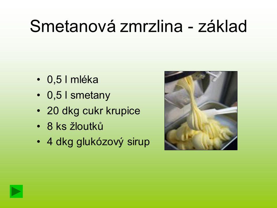 Smetanová zmrzlina - základ 0,5 l mléka 0,5 l smetany 20 dkg cukr krupice 8 ks žloutků 4 dkg glukózový sirup