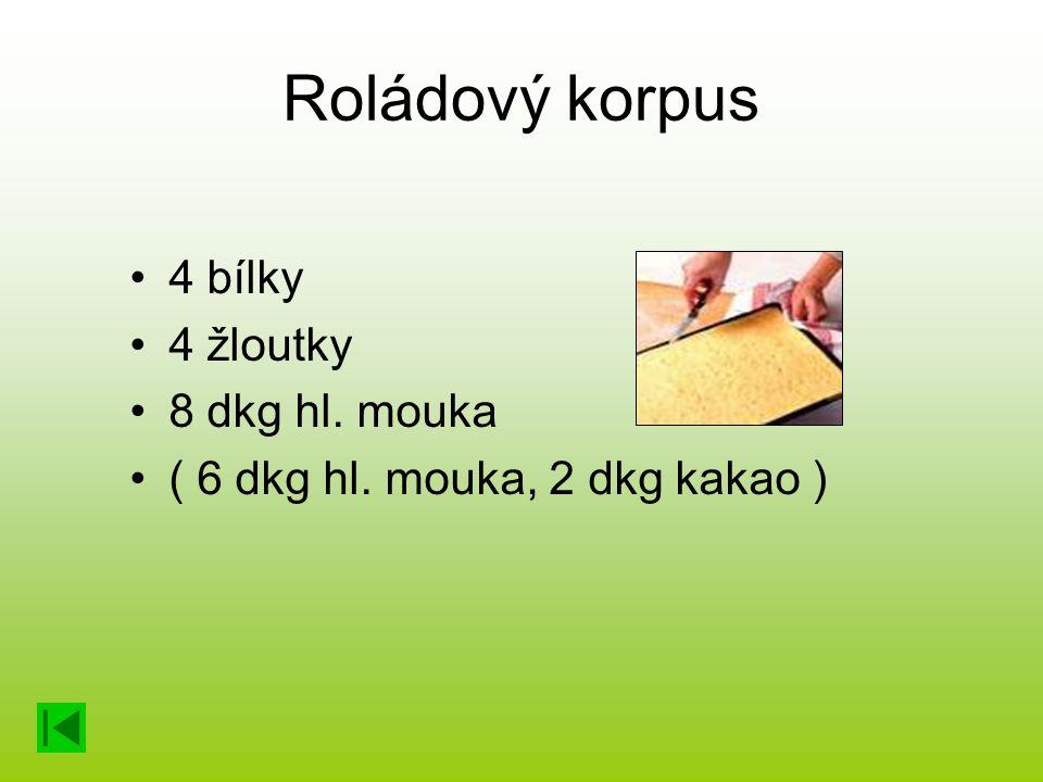 Roládový korpus 4 bílky 4 žloutky 8 dkg hl. mouka ( 6 dkg hl. mouka, 2 dkg kakao )