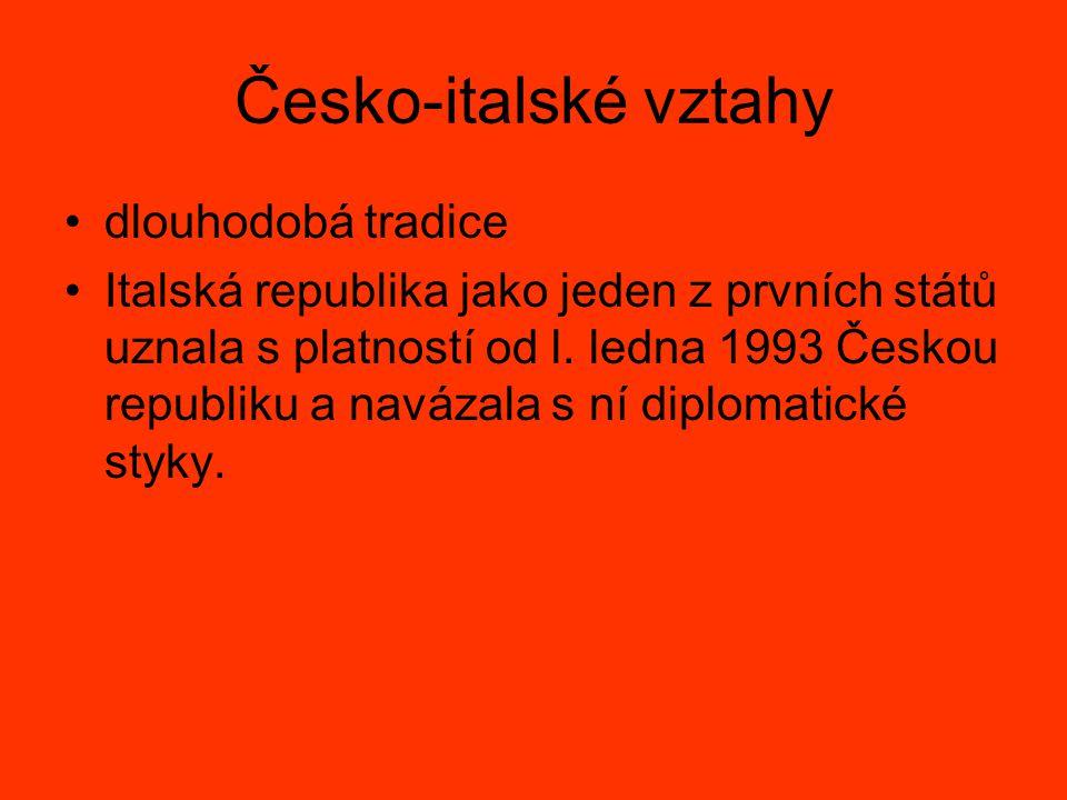 Česko-italské vztahy dlouhodobá tradice Italská republika jako jeden z prvních států uznala s platností od l. ledna 1993 Českou republiku a navázala s