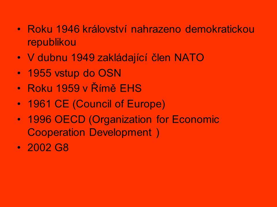 Roku 1946 království nahrazeno demokratickou republikou V dubnu 1949 zakládající člen NATO 1955 vstup do OSN Roku 1959 v Římě EHS 1961 CE (Council of