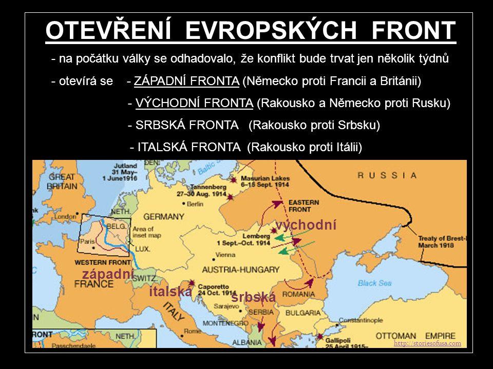 PROTI SOBĚ STÁLY: DOHODA Anglie Francie Rusko Srbsko Itálie Rumunsko USA ÚSTŘEDNÍ MOCNOSTI Německo Rakousko- Uhersko Bulharsko Turecko http:// www.fas