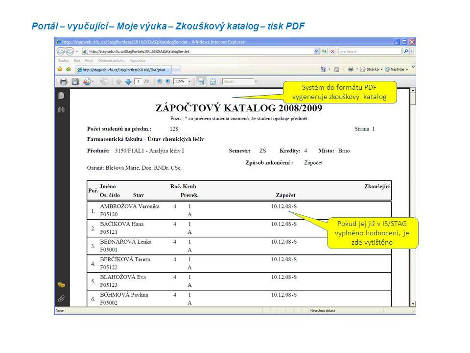Portál – vyučující – Moje výuka – Zkouškový katalog – tisk PDF Systém do formátu PDF vygeneruje zkouškový katalog Pokud jej již v IS/STAG vyplněno hod