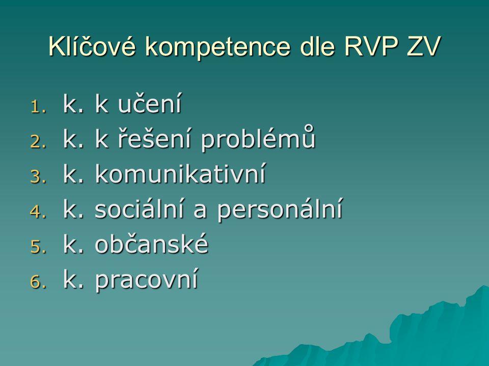 Klíčové kompetence dle RVP ZV 1.k. k učení 2. k. k řešení problémů 3.