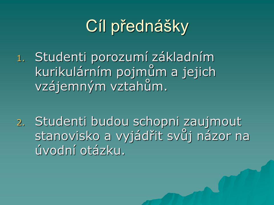 Cíl přednášky 1.Studenti porozumí základním kurikulárním pojmům a jejich vzájemným vztahům.