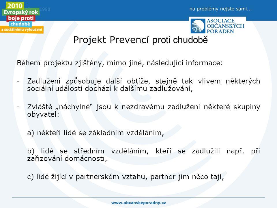 Projekt Prevenc í p roti chudobě Během projektu zjištěny, mimo jiné, následující informace: -Zadlužení způsobuje další obtíže, stejně tak vlivem někte