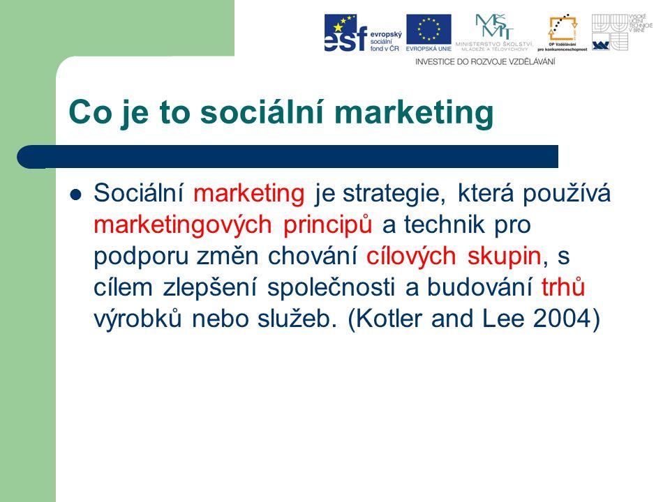 Co je to sociální marketing Sociální marketing je strategie, která používá marketingových principů a technik pro podporu změn chování cílových skupin,