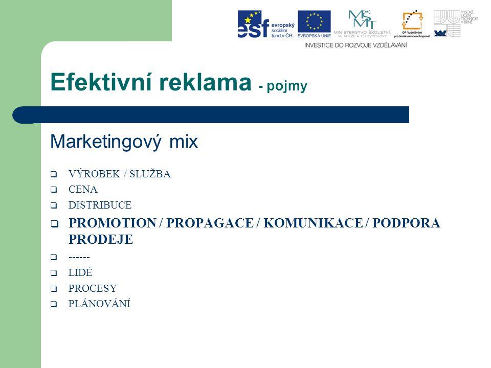 Efektivní reklama - pojmy Marketingový mix  VÝROBEK / SLUŽBA  CENA  DISTRIBUCE  PROMOTION / PROPAGACE / KOMUNIKACE / PODPORA PRODEJE  ------  LI