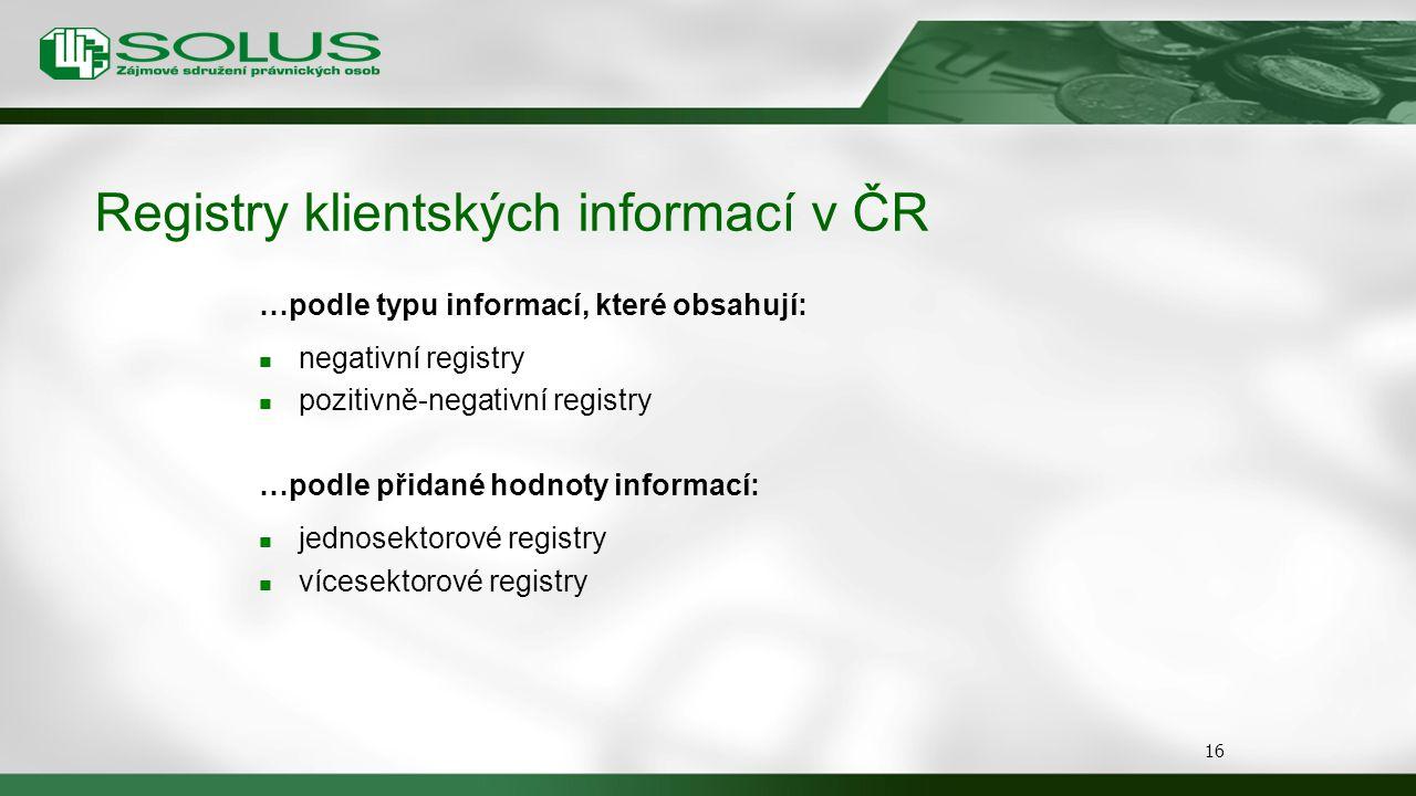 Registry klientských informací v ČR …podle typu informací, které obsahují: negativní registry pozitivně-negativní registry …podle přidané hodnoty info