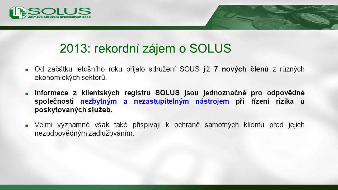2013: rekordní zájem o SOLUS Od začátku letošního roku přijalo sdružení SOUS již 7 nových členů z různých ekonomických sektorů. Informace z klientskýc