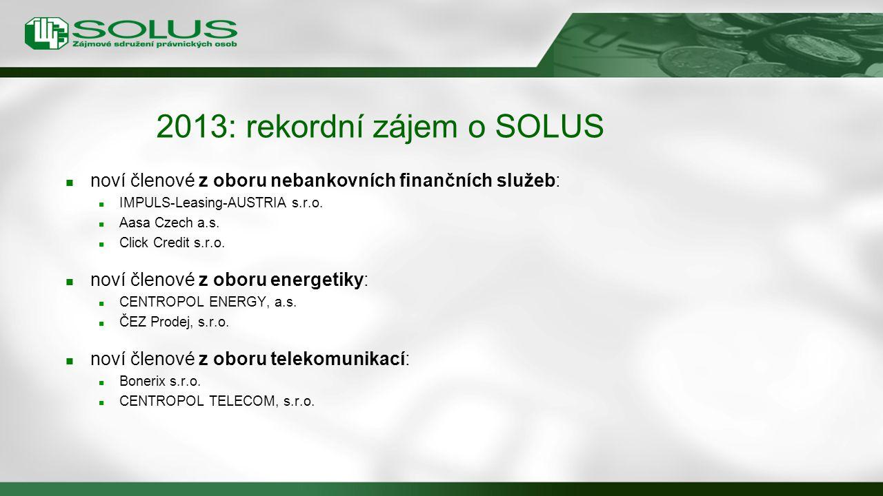 2013: rekordní zájem o SOLUS noví členové z oboru nebankovních finančních služeb: IMPULS-Leasing-AUSTRIA s.r.o. Aasa Czech a.s. Click Credit s.r.o. no