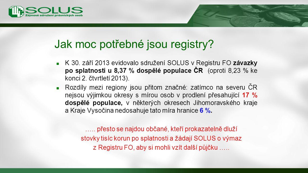 Jak moc potřebné jsou registry? K 30. září 2013 evidovalo sdružení SOLUS v Registru FO závazky po splatnosti u 8,37 % dospělé populace ČR (oproti 8,23