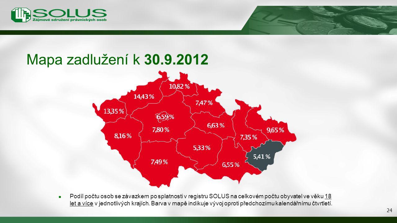 Mapa zadlužení k 30.9.2012 Podíl počtu osob se závazkem po splatnosti v registru SOLUS na celkovém počtu obyvatel ve věku 18 let a více v jednotlivých