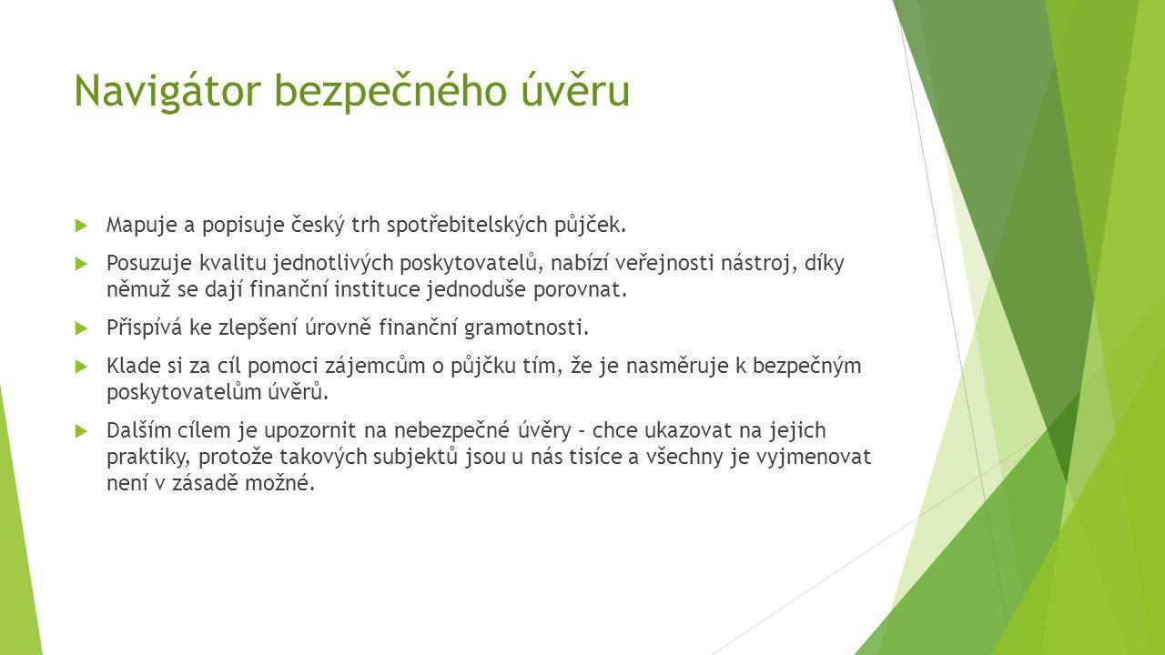 Navigátor bezpečného úvěru  Mapuje a popisuje český trh spotřebitelských půjček.  Posuzuje kvalitu jednotlivých poskytovatelů, nabízí veřejnosti nás