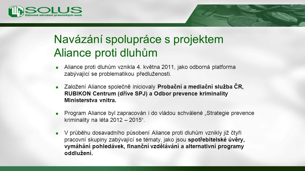 Navázání spolupráce s projektem Aliance proti dluhům Aliance proti dluhům vznikla 4. května 2011, jako odborná platforma zabývající se problematikou p