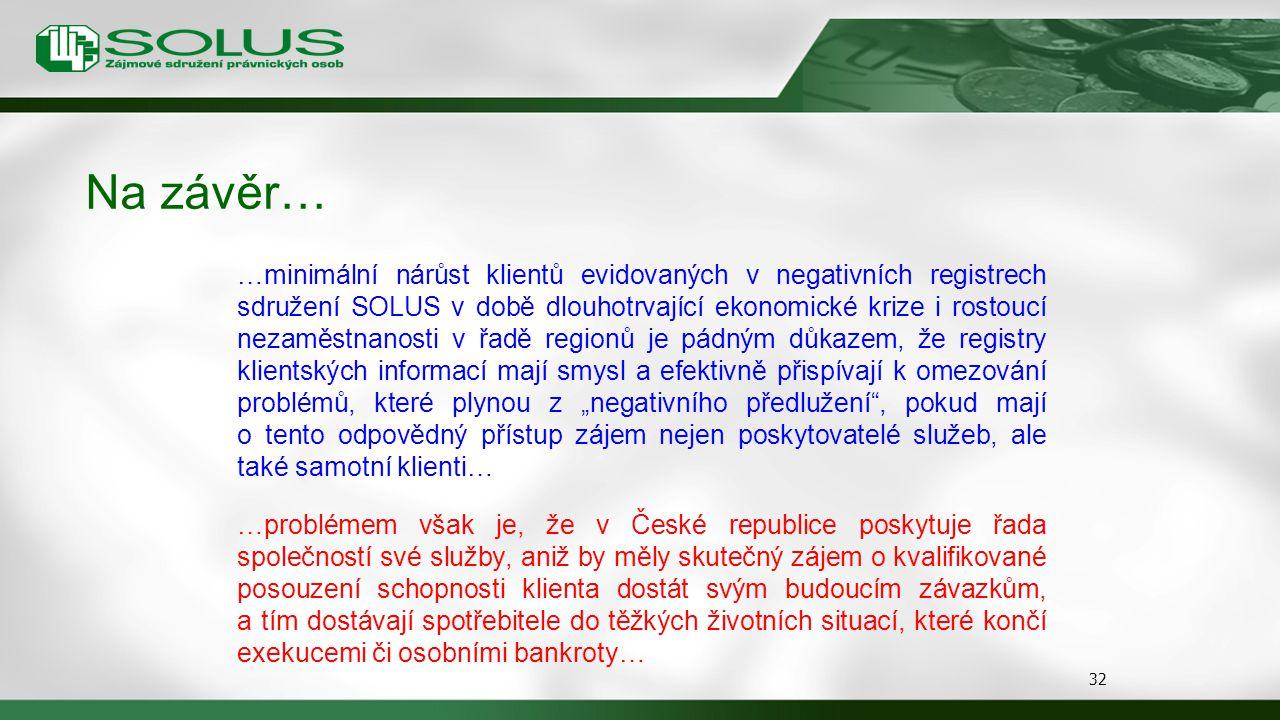 Na závěr… 32 …minimální nárůst klientů evidovaných v negativních registrech sdružení SOLUS v době dlouhotrvající ekonomické krize i rostoucí nezaměstn