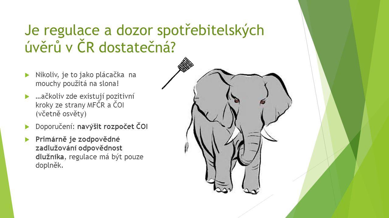 Je regulace a dozor spotřebitelských úvěrů v ČR dostatečná?  Nikoliv, je to jako plácačka na mouchy použitá na slona!  …ačkoliv zde existují pozitiv