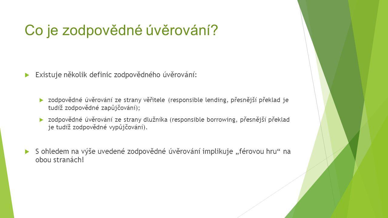Co je zodpovědné úvěrování?  Existuje několik definic zodpovědného úvěrování:  zodpovědné úvěrování ze strany věřitele (responsible lending, přesněj