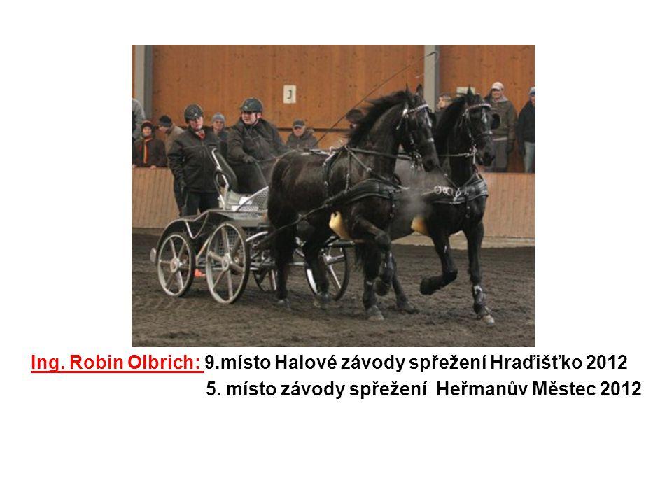 Ing. Robin Olbrich: 9.místo Halové závody spřežení Hraďišťko 2012 5. místo závody spřežení Heřmanův Městec 2012