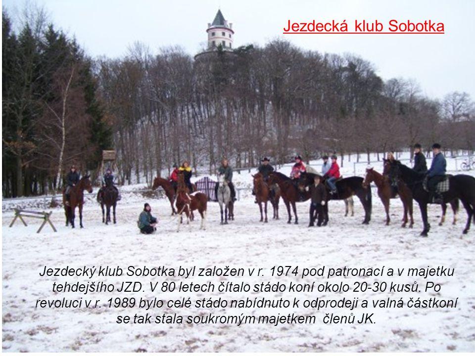 ¨ Jezdecký klub Sobotka byl založen v r. 1974 pod patronací a v majetku tehdejšího JZD. V 80 letech čítalo stádo koní okolo 20-30 kusů. Po revoluci v