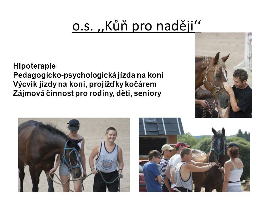 o.s.,,Kůň pro naději'' Hipoterapie Pedagogicko-psychologická jízda na koni Výcvik jízdy na koni, projížďky kočárem Zájmová činnost pro rodiny, děti, s