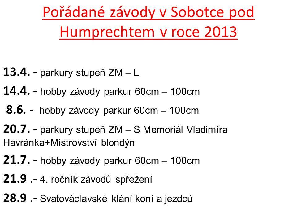 Pořádané závody v Sobotce pod Humprechtem v roce 2013 13.4. - parkury stupeň ZM – L 14.4. - hobby závody parkur 60cm – 100cm 8.6. - hobby závody parku