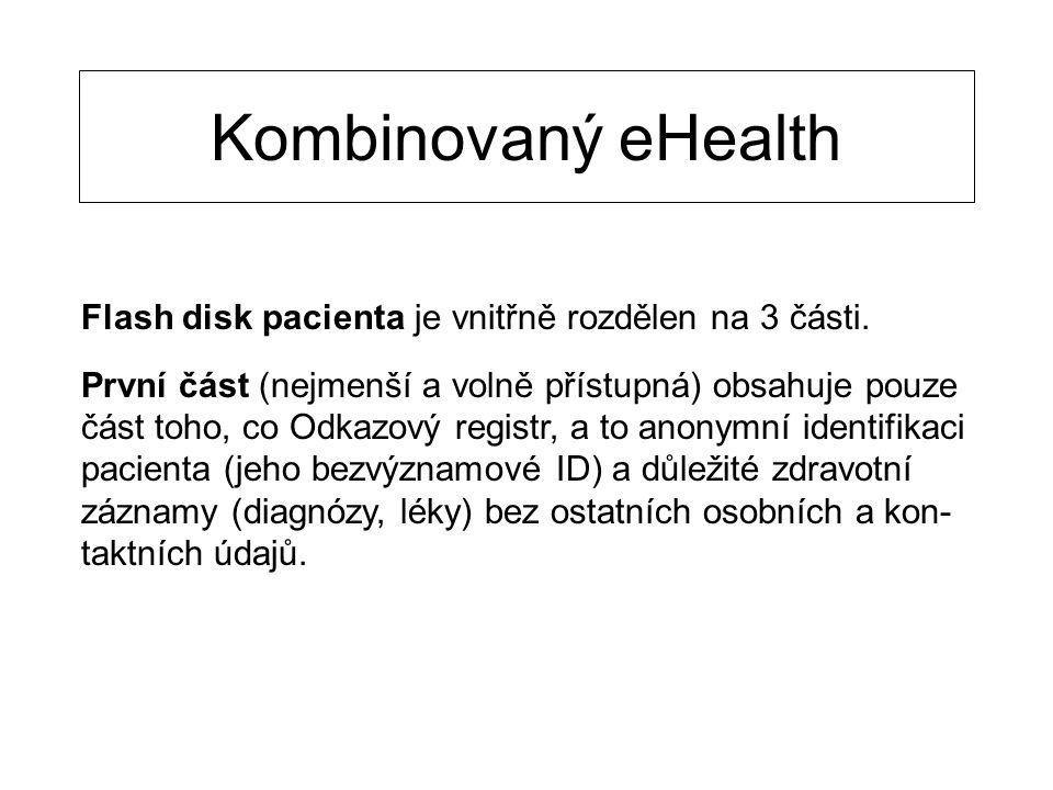 Kombinovaný eHealth Flash disk pacienta je vnitřně rozdělen na 3 části. První část (nejmenší a volně přístupná) obsahuje pouze část toho, co Odkazový