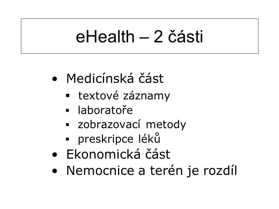 eHealth – 2 části Medicínská část  textové záznamy  laboratoře  zobrazovací metody  preskripce léků Ekonomická část Nemocnice a terén je rozdíl