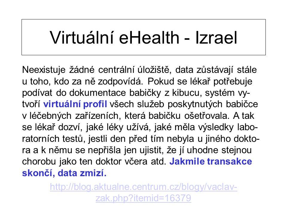 Virtuální eHealth - Izrael Neexistuje žádné centrální úložiště, data zůstávají stále u toho, kdo za ně zodpovídá. Pokud se lékař potřebuje podívat do