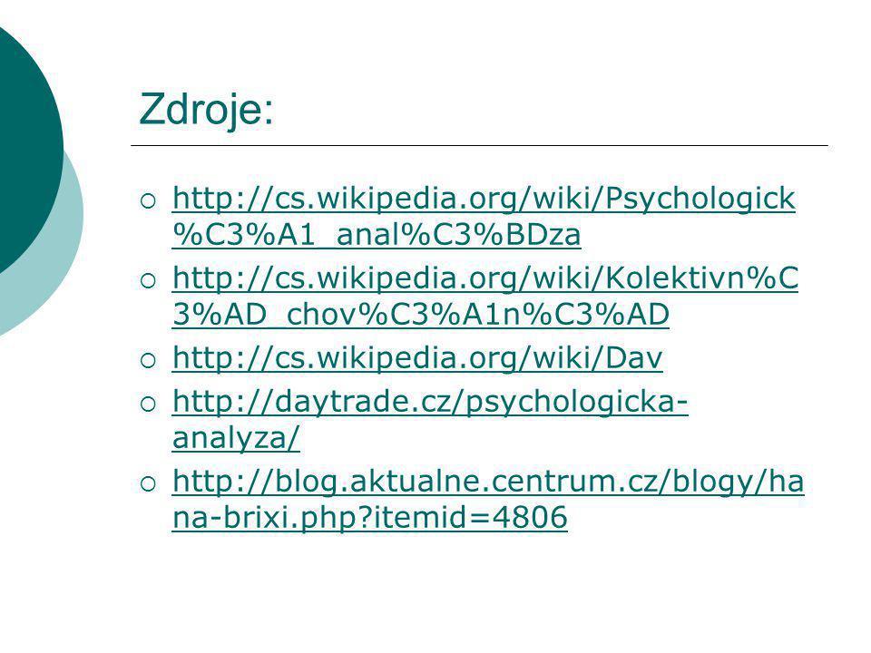 Zdroje:  http://cs.wikipedia.org/wiki/Psychologick %C3%A1_anal%C3%BDza http://cs.wikipedia.org/wiki/Psychologick %C3%A1_anal%C3%BDza  http://cs.wikipedia.org/wiki/Kolektivn%C 3%AD_chov%C3%A1n%C3%AD http://cs.wikipedia.org/wiki/Kolektivn%C 3%AD_chov%C3%A1n%C3%AD  http://cs.wikipedia.org/wiki/Dav http://cs.wikipedia.org/wiki/Dav  http://daytrade.cz/psychologicka- analyza/ http://daytrade.cz/psychologicka- analyza/  http://blog.aktualne.centrum.cz/blogy/ha na-brixi.php?itemid=4806 http://blog.aktualne.centrum.cz/blogy/ha na-brixi.php?itemid=4806