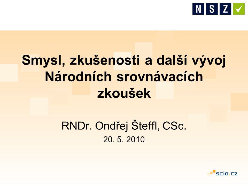 Smysl, zkušenosti a další vývoj Národních srovnávacích zkoušek RNDr. Ondřej Šteffl, CSc. 20. 5. 2010