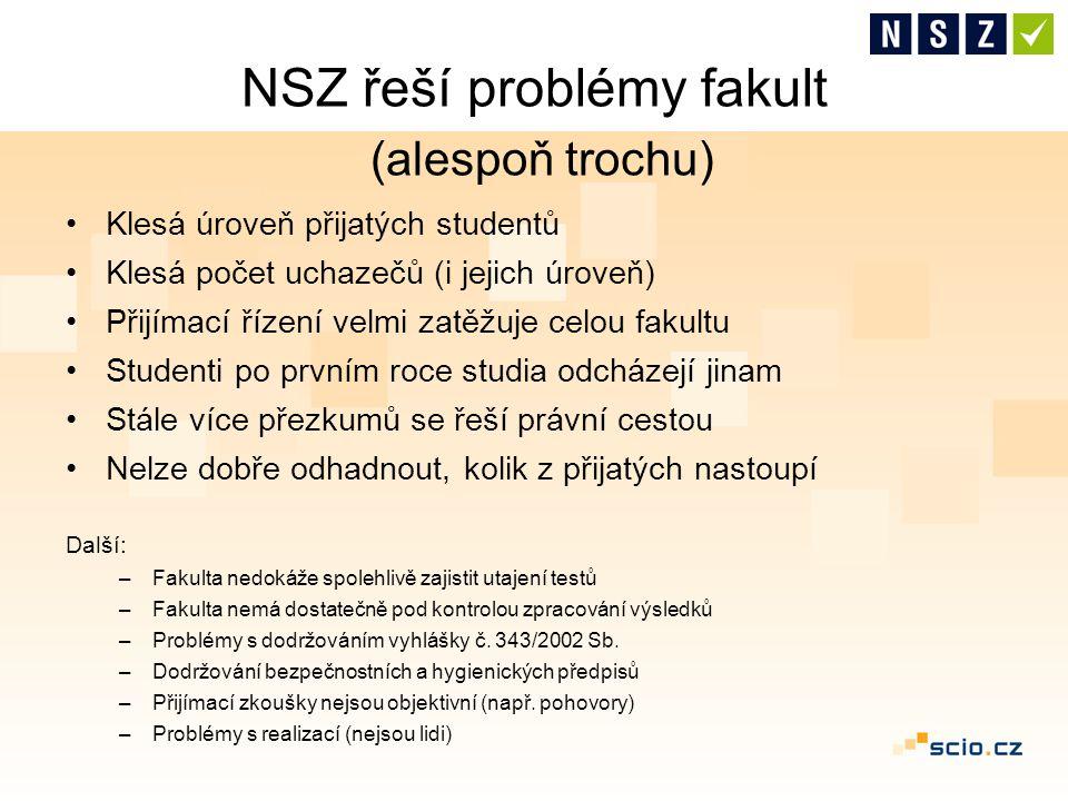 NSZ řeší problémy fakult (alespoň trochu) Klesá úroveň přijatých studentů Klesá počet uchazečů (i jejich úroveň) Přijímací řízení velmi zatěžuje celou