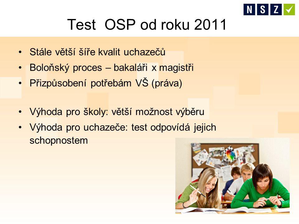 Stále větší šíře kvalit uchazečů Boloňský proces – bakaláři x magistři Přizpůsobení potřebám VŠ (práva) Výhoda pro školy: větší možnost výběru Výhoda pro uchazeče: test odpovídá jejich schopnostem Test OSP od roku 2011