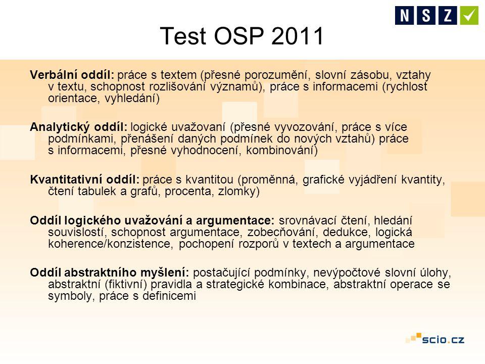 Test OSP 2011 Verbální oddíl: práce s textem (přesné porozumění, slovní zásobu, vztahy v textu, schopnost rozlišování významů), práce s informacemi (r