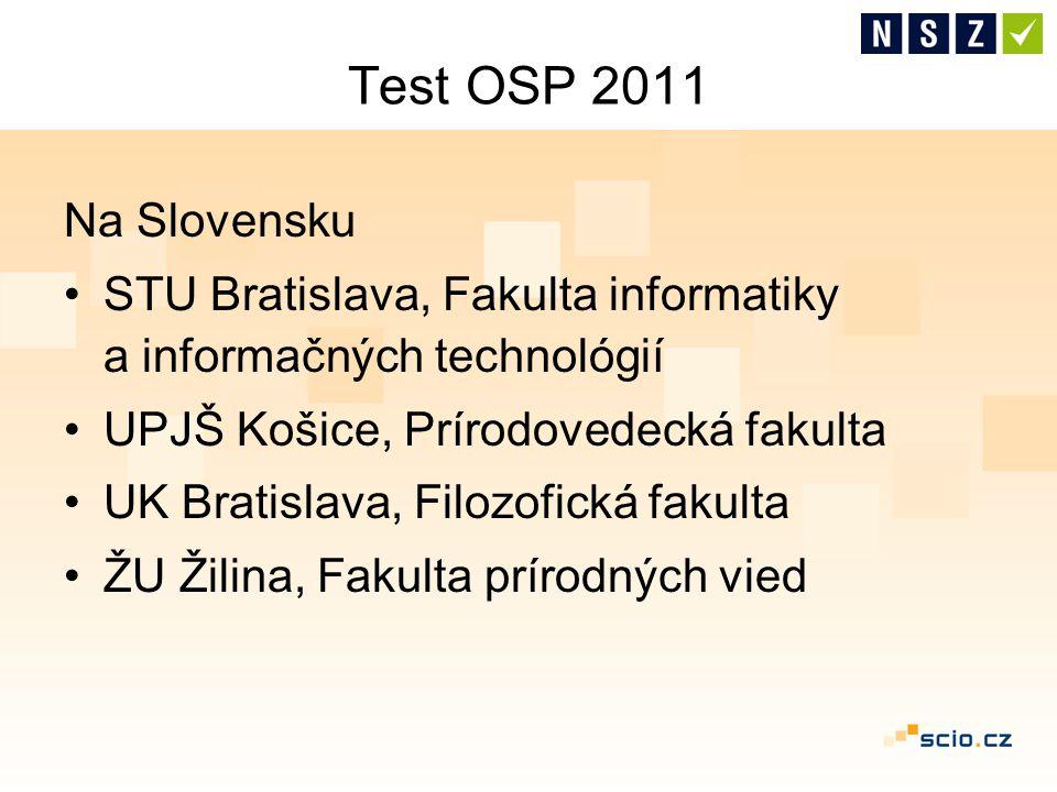 Test OSP 2011 Na Slovensku STU Bratislava, Fakulta informatiky a informačných technológií UPJŠ Košice, Prírodovedecká fakulta UK Bratislava, Filozofic