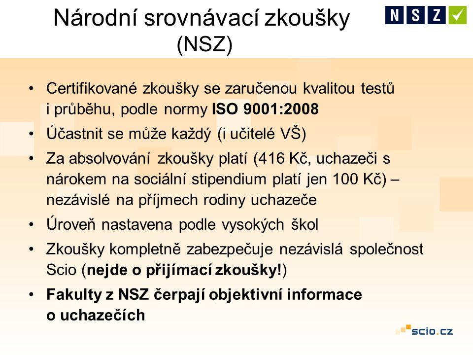 Národní srovnávací zkoušky (NSZ) Certifikované zkoušky se zaručenou kvalitou testů i průběhu, podle normy ISO 9001:2008 Účastnit se může každý (i učit