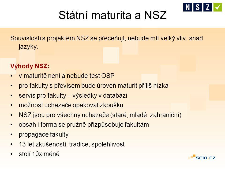 Státní maturita a NSZ Souvislosti s projektem NSZ se přeceňují, nebude mít velký vliv, snad jazyky. Výhody NSZ: v maturitě není a nebude test OSP pro