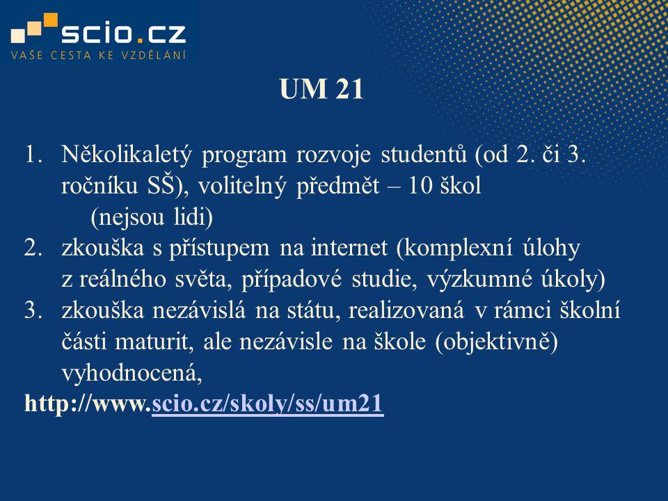 UM 21 1.Několikaletý program rozvoje studentů (od 2. či 3. ročníku SŠ), volitelný předmět – 10 škol (nejsou lidi) 2.zkouška s přístupem na internet (k