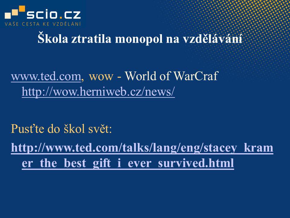 www.ted.comwww.ted.com, wow - World of WarCraf http://wow.herniweb.cz/news/ http://wow.herniweb.cz/news/ Pusťte do škol svět: http://www.ted.com/talks