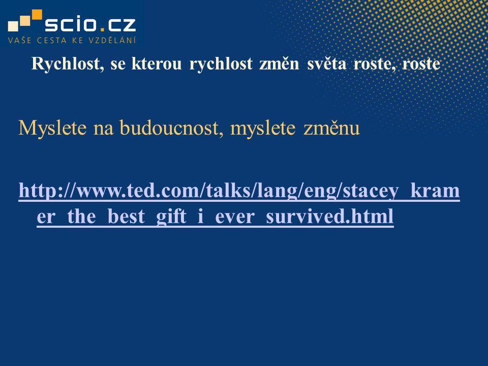Myslete na budoucnost, myslete změnu http://www.ted.com/talks/lang/eng/stacey_kram er_the_best_gift_i_ever_survived.html Rychlost, se kterou rychlost
