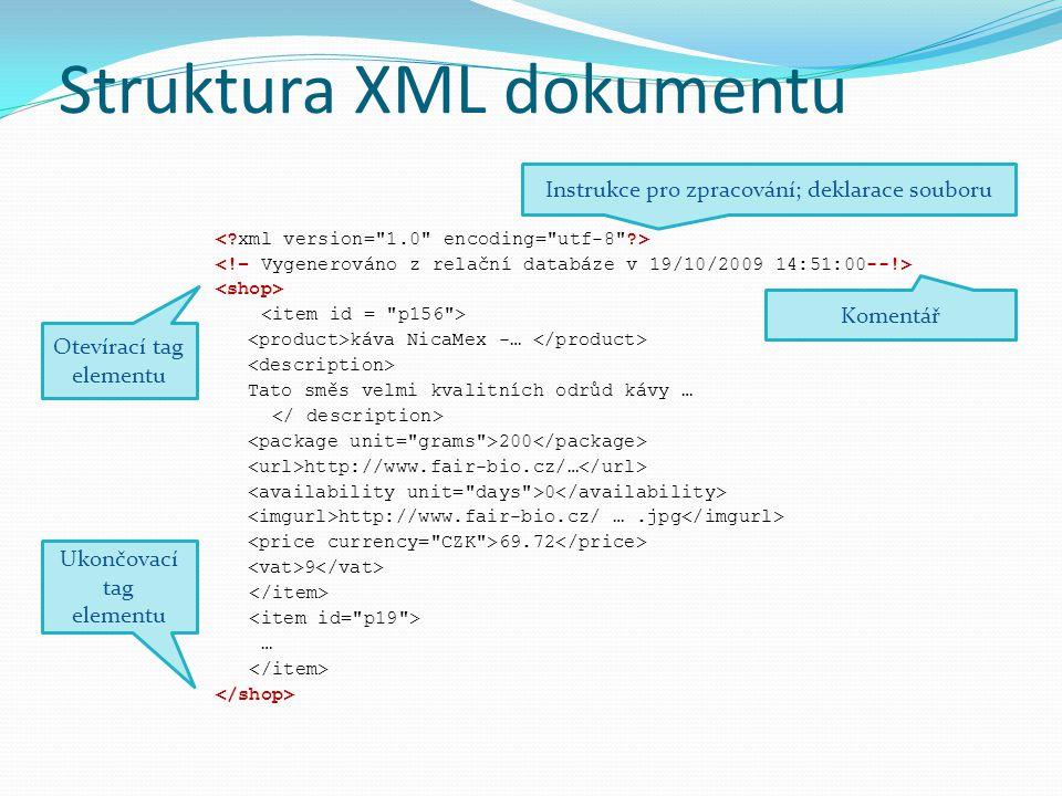 Struktura XML dokumentu káva NicaMex -… Tato směs velmi kvalitních odrůd kávy … 200 http://www.fair-bio.cz/… 0 http://www.fair-bio.cz/ ….jpg 69.72 9 … Atributový uzel Text