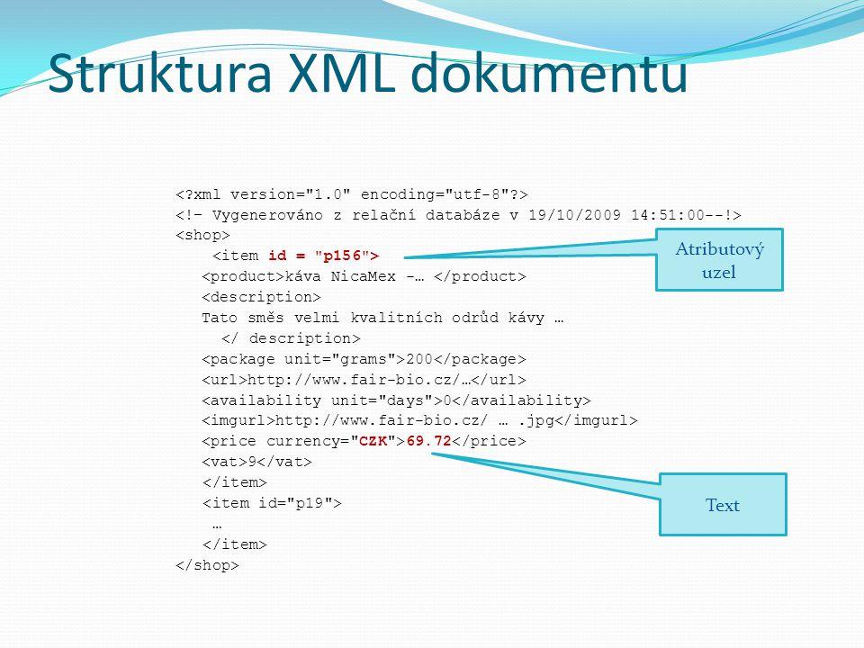Zásada tvorby XML dokumentu Do atributů by se měly ukládat atomické hodnoty, které mají roli metadat Rezervované znaky, především <>&, převádíme na entity, nebo text vložíme do CDATA sekce (Pozn.: CDATA se použije typicky pokud je součástí XML dokumentu nějaký zdrojový kód) Volíme co nejjemnější členění, každá informace do samostatného elementu
