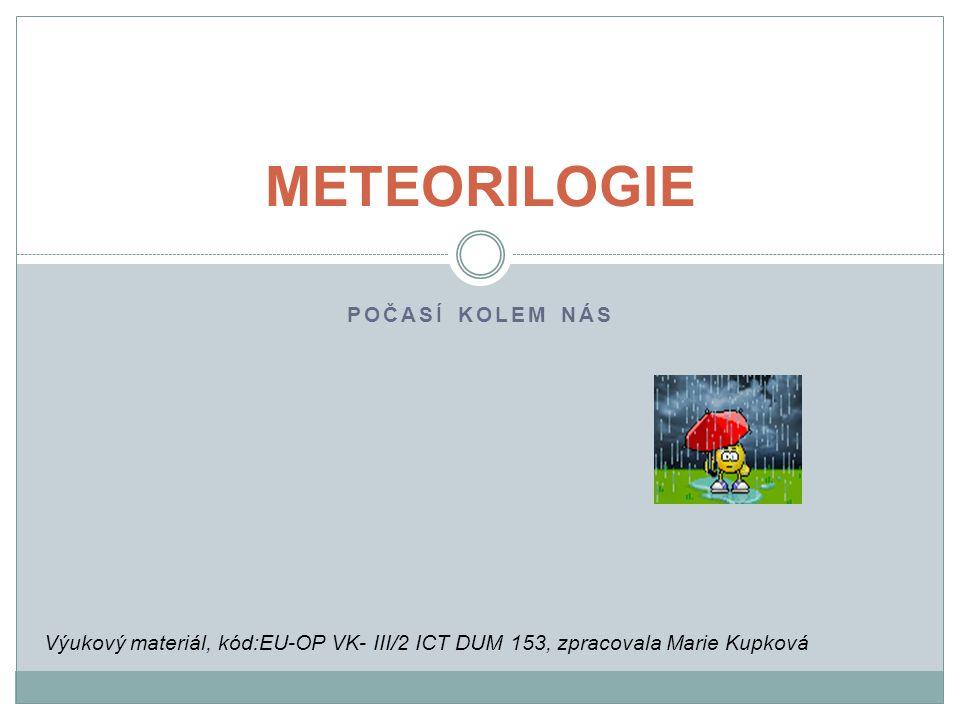 POJMY Vytvořte si myšlenkovou mapu na téma meteorologie Které pojmy patří mezi základní meteorologické prvky.