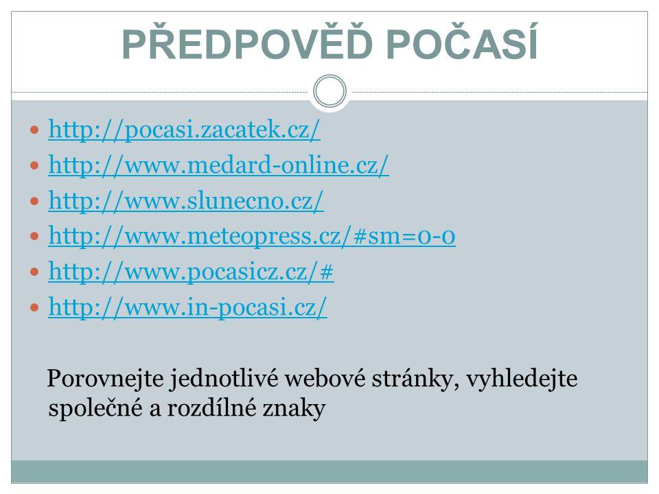 PŘEDPOVĚĎ POČASÍ http://pocasi.zacatek.cz/ http://www.medard-online.cz/ http://www.slunecno.cz/ http://www.meteopress.cz/#sm=0-0 http://www.pocasicz.c