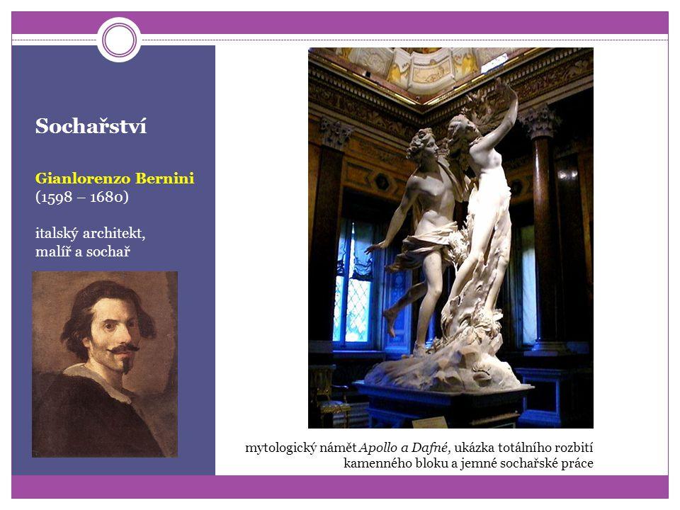 Sochařství protiklad renesance v dramatičnosti gest rozevlátosti v prostoru vysoké emocionalitě patetičnosti a náboženské vroucnosti až vytržení Gianl