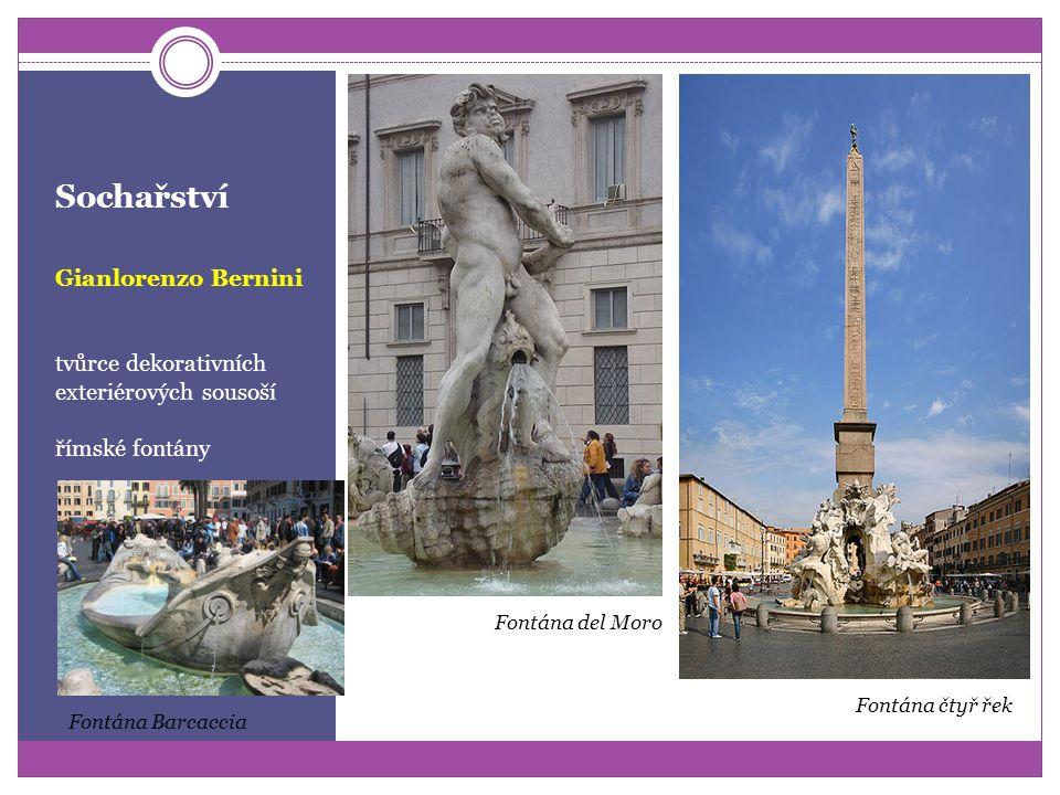 Sochařství Gianlorenzo Bernini autor mnoha portrétních bust, dekorativních a s živým výrazem očí portréty s citovým zaujetím k modelu busta kardinála