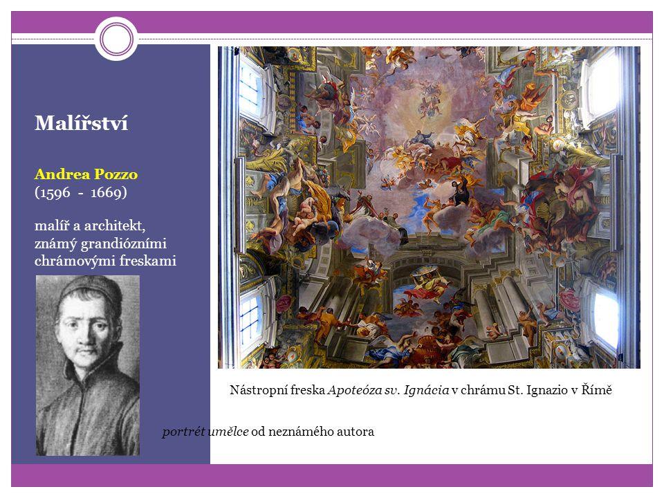 Malířství Giovanni Battista Gaulli (1596 - 1669) malíř a architekt, autor iluzivních staveb a dekorativních fresek Autoportrét Freska Triumf františká